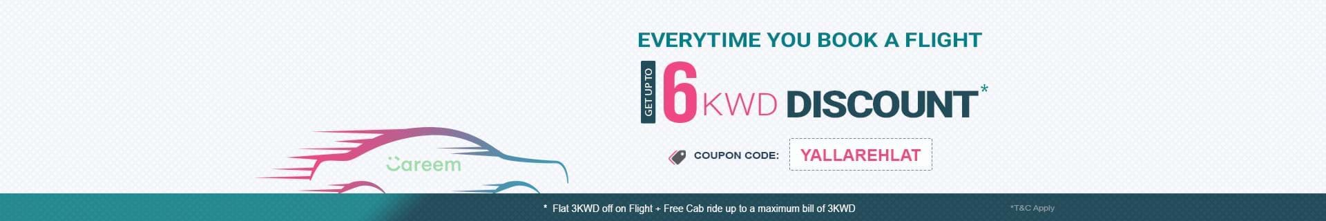 Get discount & free Careem Ride on booking flights from/to Qatar or Kuwait.