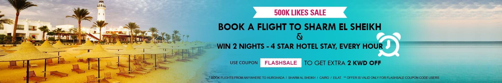 Book flights to Egypt at 2 KWD off and win a hotel stay.Use Code:FLASHSALE